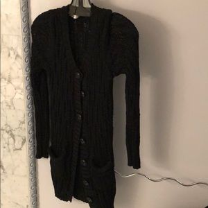 Pippa Lynn Black long cardigan knit sweater. 8b3b55a27